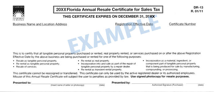 Florida Tax Exempt Form